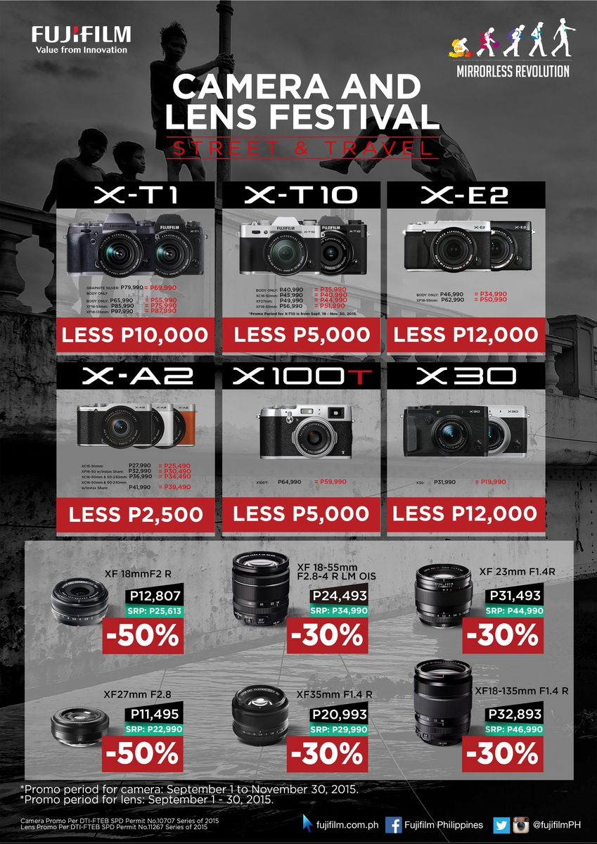 Camera Fujifilm Dslr Camera Price fujifilm x mirrorless revolution gadgets magazine philippines to further convince you make the switch is offering select cameras and lenses at a much lower price